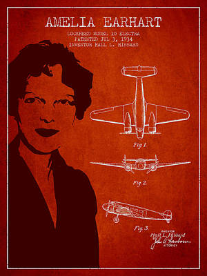 Amelia Digital Art - Amelia Earhart Lockheed Airplane Patent From 1934 - Red by Aged Pixel
