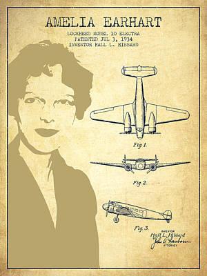Amelia Digital Art - Amelia Earhart Lockheed Airplane Patent From 1934 - Vintage by Aged Pixel