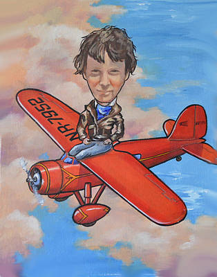 Print featuring the painting Amelia Earhart by Murray McLeod