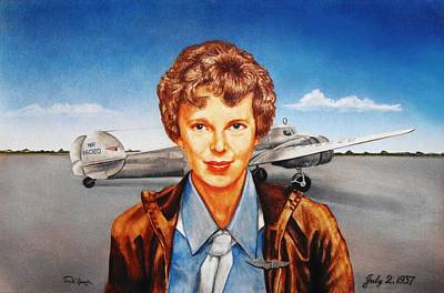 The Aviator Drawing - Amelia Earhart by Todd Spaur