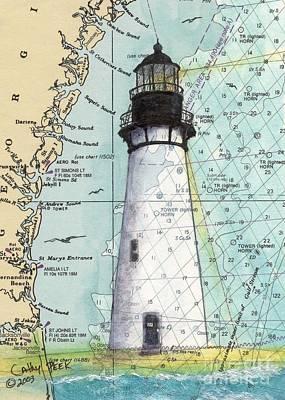 East Coast Lighthouse Painting - Amelia Island Lighthouse Fl Nautical Chart Art Cathy Peek by Cathy Peek
