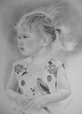 Melanie Spencer Drawing - Amelia - Wind Blown by Melanie Spencer