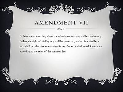 Constitution Digital Art - Amendment Vii by Ron Hedges