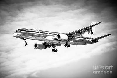 Amercian Airlines 757 Airplane In Black And White Art Print by Paul Velgos