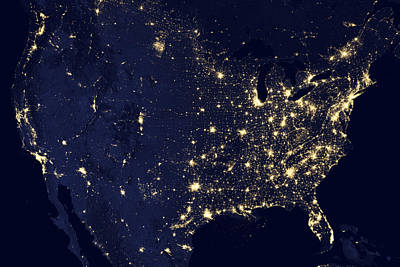 Abstract Map Photograph - America At Night by Adam Romanowicz