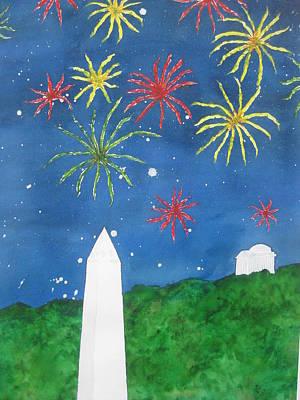 Jefferson Memorial Painting - America Celebrates by Kathy Mehaffey
