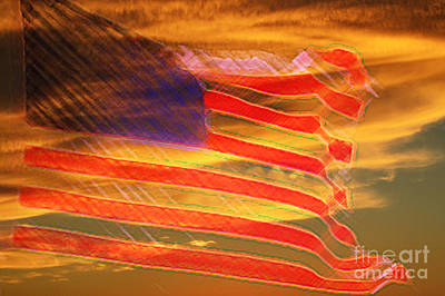 Old Glory Mixed Media - America Distress by Beverly Guilliams