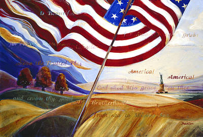 Flags Painting - America by Jen Norton