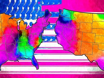Us Flag Mixed Media - America Map by Daniel Janda
