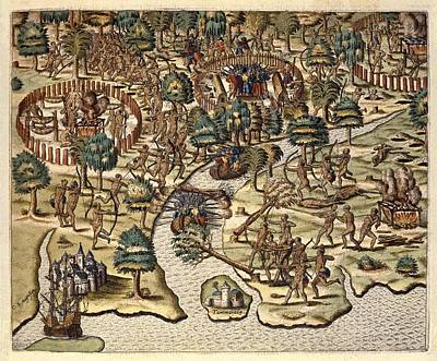 Colonial Man Photograph - America Tertia Pars, 1562. Methods by Everett