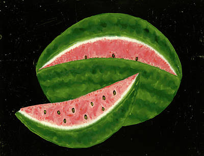 Reverse Painting - American 19th Century, Watermelon, Mid 19th Century by Quint Lox