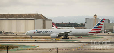 American Airliner On Runway At Lax In May 2014 Art Print
