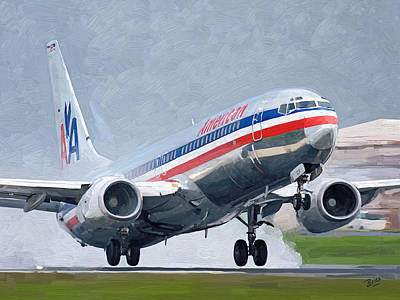 Painting - American Airlines Taking Off by Nop Briex