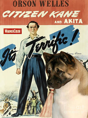 Painting - American Akita Art Canvas Print - Citizen Kane Movie Poster by Sandra Sij