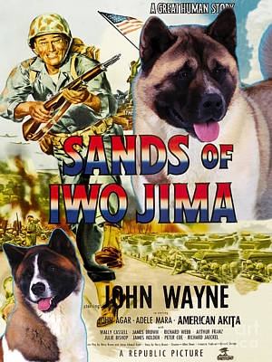 Painting - American Akita Art Canvas Print - Sands Of Iwo Jima Movie Poster by Sandra Sij