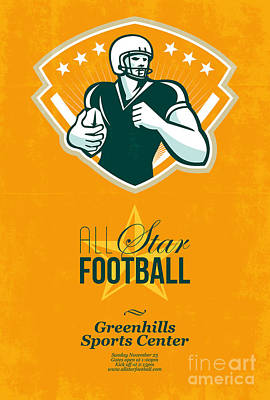 American All Star Football Retro Poster Art Print