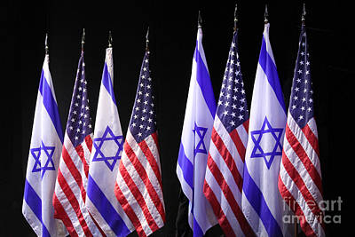Photograph - American And Israeli Flags  by Lilach Weiss