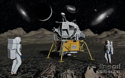 American Apollo Astronauts On The Lunar Art Print by Mark Stevenson