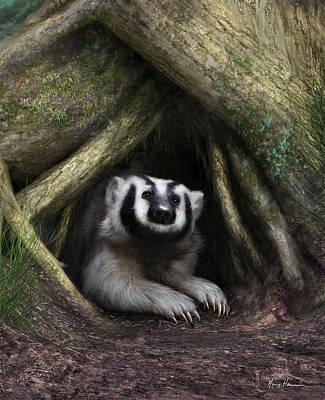 Burrow Painting - American Badger by Gary Hanna