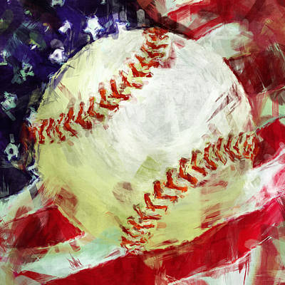 Sports Royalty-Free and Rights-Managed Images - American Baseball Abstract by David G Paul