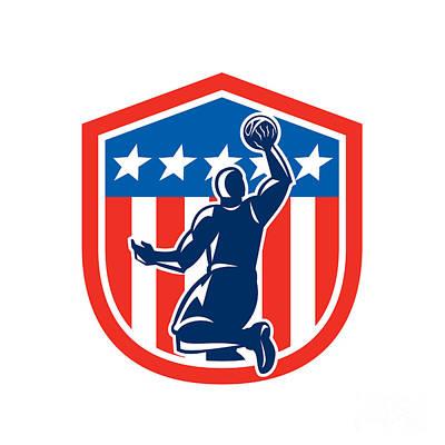 American Basketball Player Dunk Rear Shield Retro Art Print
