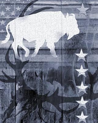 Bison Digital Art - American Bison Collage In Blue by Sharon Marcella Marston