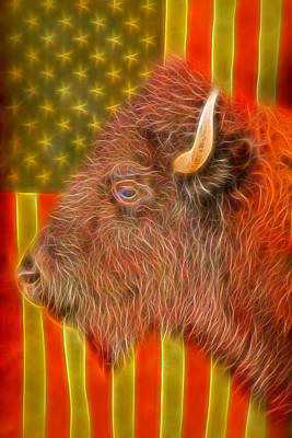 Photograph - American Bison Headshot Flag Glow by James BO Insogna