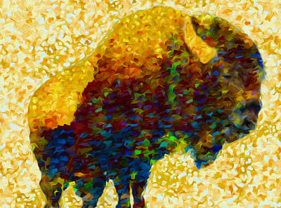Yak Digital Art - American Bison by Jack Zulli