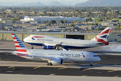 American Airways Photograph - American Boeing 787-823 N801ac And British Airways 747-436 G-bnlx Phoenix Sky Harbor March 10 2015 by Brian Lockett