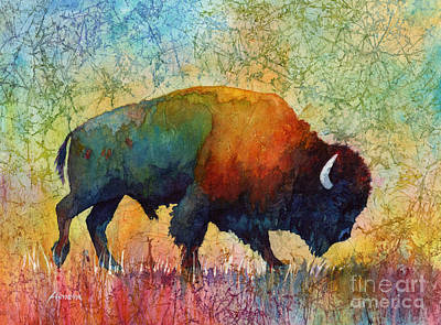 Bison Watercolor Painting - American Buffalo 4 by Hailey E Herrera