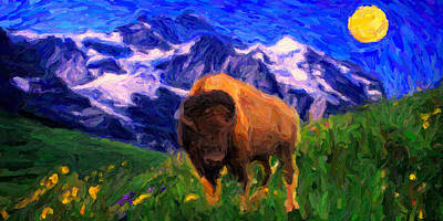 Bison Drawing - American Buffalo In The Wild West by Celestial Images