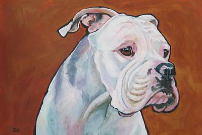 Painting - American Bulldog Belinda by Janet Burt