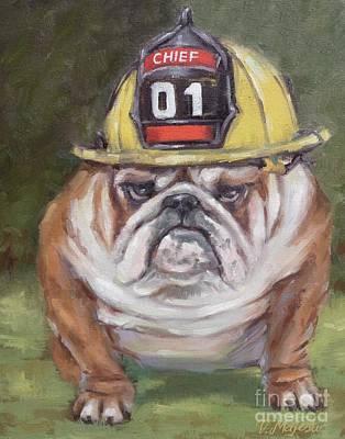 Character Portraits Painting - American Bulldog Fireman by Viktoria K Majestic
