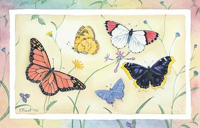 Monarch Painting - American Butterflies I by Paul Brent