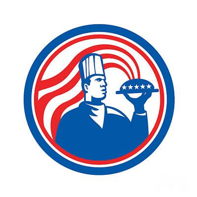 American Food Digital Art - American Chef Cook Serving Food Platter Retro by Aloysius Patrimonio