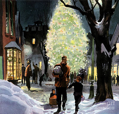 Mixed Media - American Christmas A Father Walks With His Son Through The Snow Laden Streets.  by R Muirhead Art