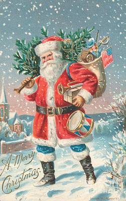 Father Christmas Painting - American Christmas Card by American School