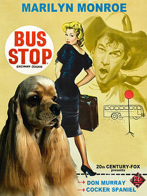 American Cocker Spaniel Art - Bus Stop Movie Poster Original by Sandra Sij