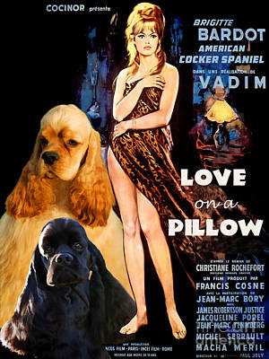American Cocker Spaniel  Art - Love On A Pillow Movie Poster Original by Sandra Sij