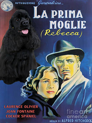American Cocker Spaniel Art - Rebecca Movie Poster Original by Sandra Sij