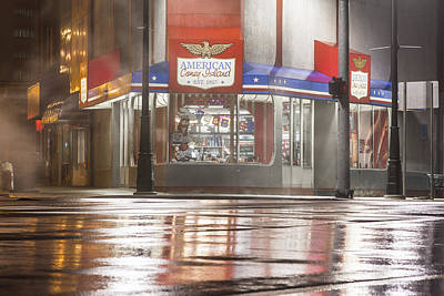 Photograph - American Coney In Detroit At Night by John McGraw
