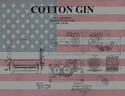 Fabric Mixed Media - American Cotton Gin Patent by Dan Sproul