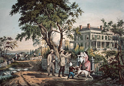 The Dog House Painting - American Country Life  October Afternoon, 1855  by Currier and Ives
