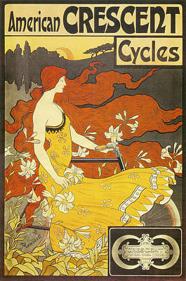 American Crescent Cycles 1899 Art Print by Frederick Winthrop Ramsdell