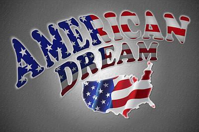 Landmarks Royalty Free Images - American Dream Digital Typography Artwork Royalty-Free Image by Georgeta Blanaru
