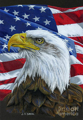 July Fourth Drawing - American Eagle by Sarah Batalka