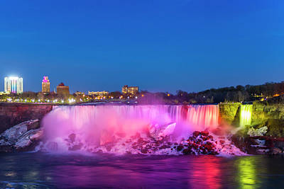 Photograph - American Falls Illuminated At Dusk by Mike Theiss