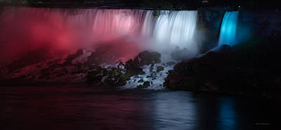 Crystal Wightman Rights Managed Images - American Falls Lit up at Night Royalty-Free Image by Crystal Wightman