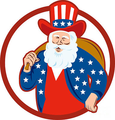 American Father Christmas Santa Claus Art Print