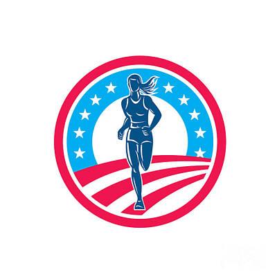 American Female Triathlete Marathon Runner Circle Art Print
